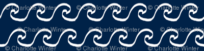 navy and white nursery wave fabric ocean waves design