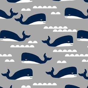 grey and navy whales fabric whale nursery nautical design
