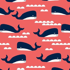 coral and navy whales fabric nursery nautical design