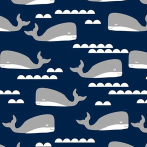 navy and grey nautical whales design whale fabric