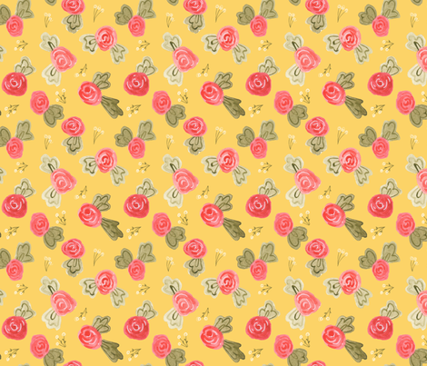 Little Roses - yellow fabric by jennifergeldard on Spoonflower - custom fabric