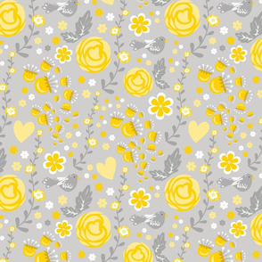 Mustard and Grey Floral