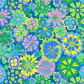 wildflowers in blues & greens