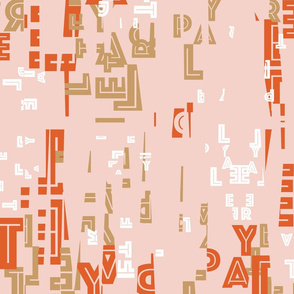 letterplay in orange on pale pink