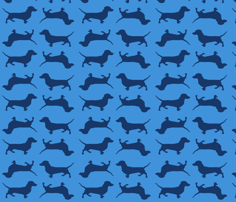 Blue Doxies on Blue fabric by bettina_pedersen on Spoonflower - custom fabric
