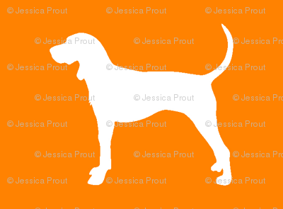 coonhound on orange (small scale)