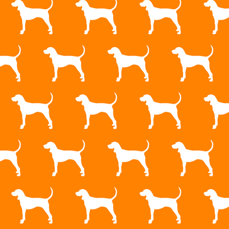 coonhound on orange (small scale) fabric by littlearrowdesign on Spoonflower - custom fabric