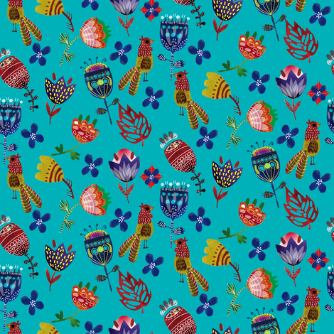 Bright flowers watercolor fabric by masha_k__saunders on Spoonflower - custom fabric