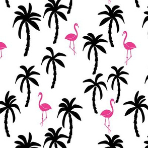 palm tree fabric // flamingo summer tropical print - black and pink