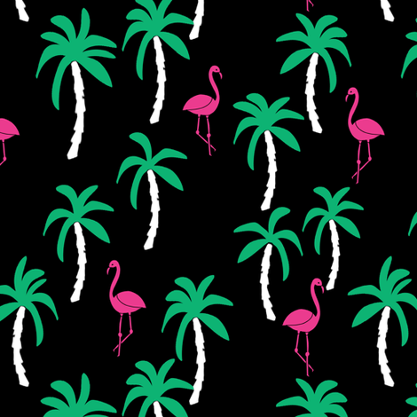 palm tree fabric // flamingo summer tropical print - black and brights fabric by andrea_lauren on Spoonflower - custom fabric