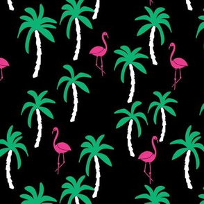 palm tree fabric // flamingo summer tropical print - black and brights