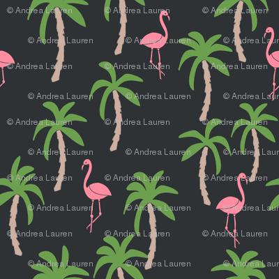 palm tree fabric // flamingo summer tropical print - charcoal