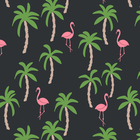 palm tree fabric // flamingo summer tropical print - charcoal fabric by andrea_lauren on Spoonflower - custom fabric