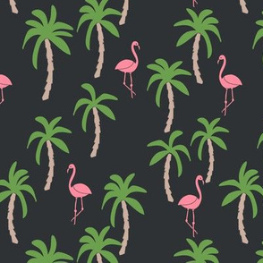 palm tree fabric // flamingo summer tropical print - charcoal
