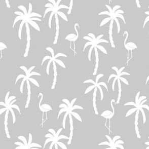 palm tree fabric // flamingo summer tropical print - grey