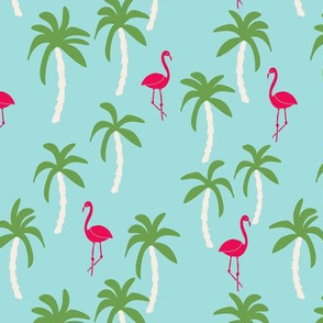 palm tree fabric // flamingo summer tropical print - light blue