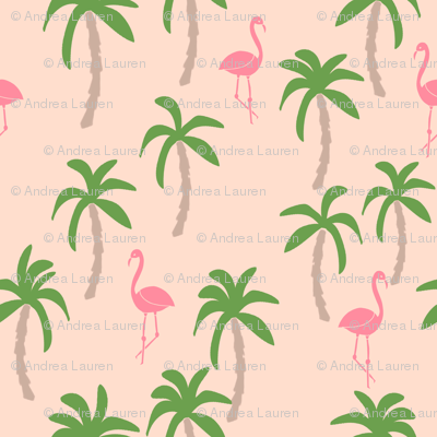 palm tree fabric // flamingo summer tropical print - peach