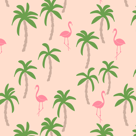 palm tree fabric // flamingo summer tropical print - peach fabric by andrea_lauren on Spoonflower - custom fabric
