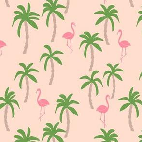 palm tree fabric // flamingo summer tropical print - peach