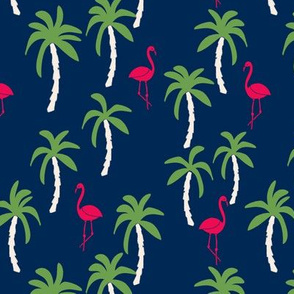 palm tree fabric // flamingo summer tropical print - navy brights