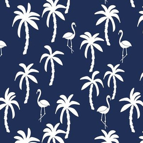 palm tree fabric // flamingo summer tropical print - navy