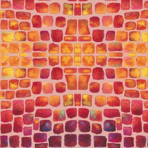 Watercolor Mosaic - Pink Grout