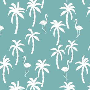 palm tree fabric // flamingo summer tropical print - blue