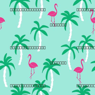 palm tree fabric // flamingo summer tropical print - bright ocean blue