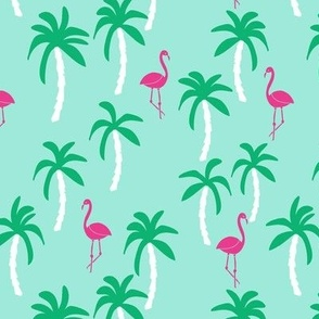 palm tree fabric // flamingo summer tropical print - bright ocean blue
