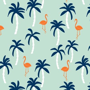 palm tree fabric // flamingo summer tropical print - orange and navy