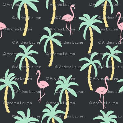 palm tree fabric // flamingo summer tropical print - pastel on charcoal