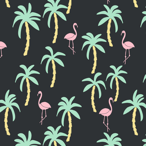 palm tree fabric // flamingo summer tropical print - pastel on charcoal fabric by andrea_lauren on Spoonflower - custom fabric
