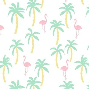 palm tree fabric // flamingo summer tropical print - pastels