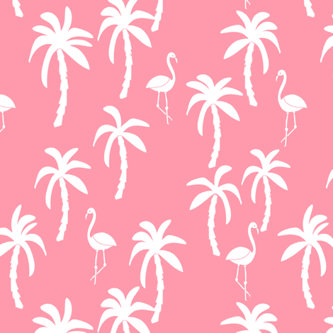 palm tree fabric // flamingo summer tropical print - pink fabric by andrea_lauren on Spoonflower - custom fabric