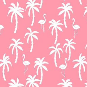 palm tree fabric // flamingo summer tropical print - pink