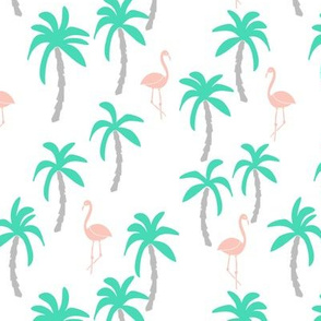 palm tree fabric // flamingo summer tropical print - light pink and green