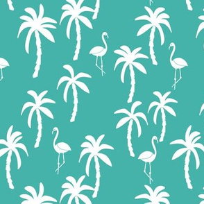 palm tree fabric // flamingo summer tropical print - turquoise
