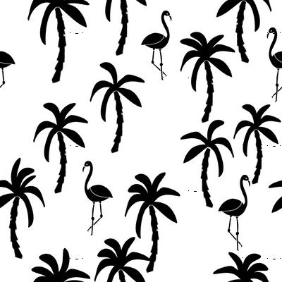 palm tree fabric // flamingo summer tropical print - black and white