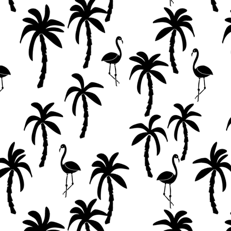 palm tree fabric // flamingo summer tropical print - black and white fabric by andrea_lauren on Spoonflower - custom fabric