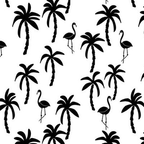 palm tree fabric // flamingo summer tropical print - black and white