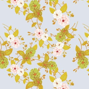 Chinoserie Roses, Mustard, Pink, Ivory on Dove Grey