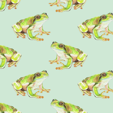 Green Tree Frog on Pale Duckegg  fabric by thistleandfox on Spoonflower - custom fabric