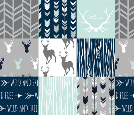 Patchwork Deer in White, mint,navy, grey- fabric by sugarpinedesign on Spoonflower - custom fabric