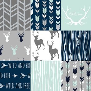 Patchwork Deer in White, mint,navy, grey-