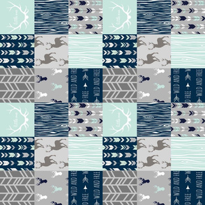"""3"""" Rotated Patchwork Deer in mint, navy and grey"""