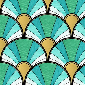Art Deco Fan in Green Ombre and Gold