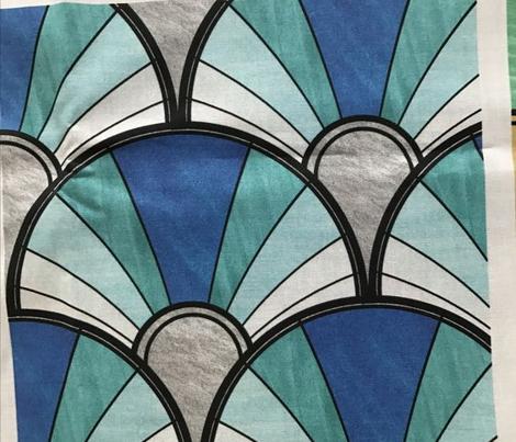 Flowing Deco Fan in Blue and Green
