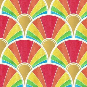 Rainbow Flow Art Deco Fan Pattern with White Outline
