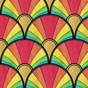 Flowing Rainbow Art Deco Fan