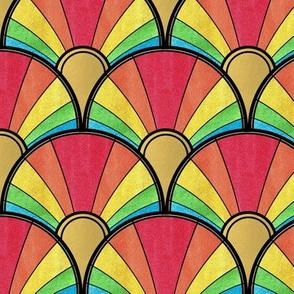 Flowing Rainbow Art Deco Fan